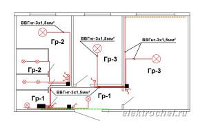 Схема освещения в 2-х комнатной квартире