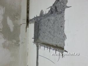 Штробление ниши под щит в бетоне